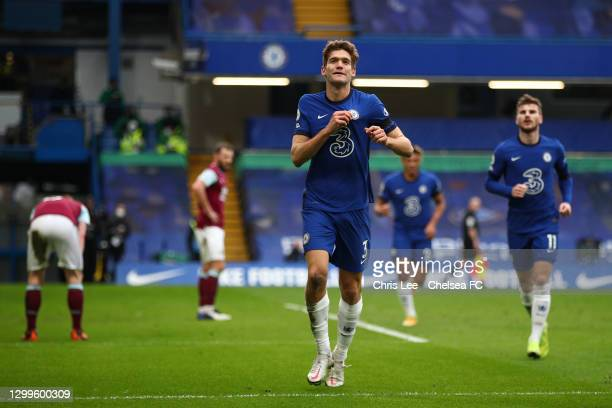 Marcos Alonso of Chelsea celebrates after scoring their side's second goal during the Premier League match between Chelsea and Burnley at Stamford...