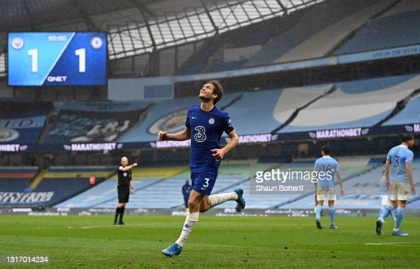 Marcos Alonso of Chelsea celebrates after scoring their side's second goal during the Premier League match between Manchester City and Chelsea at...