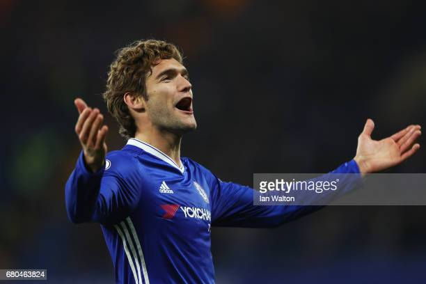 Marcos Alonso of Chelsea celebrates after the full time whistle during the Premier League match between Chelsea and Middlesbrough at Stamford Bridge...