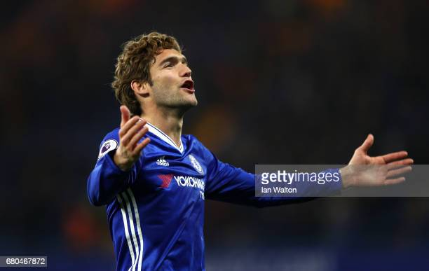 Marcos Alonso of Chelsea celebrates after the match in the Premier League match between Chelsea and Middlesbrough at Stamford Bridge on May 8 2017 in...