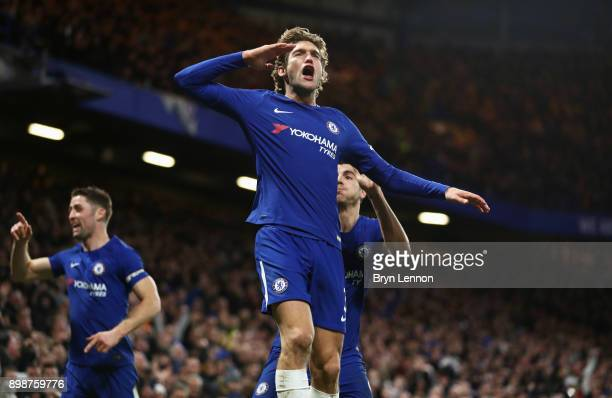 Marcos Alonso of Chelsea celebrates as he scores their second goal during the Premier League match between Chelsea and Brighton and Hove Albion at...