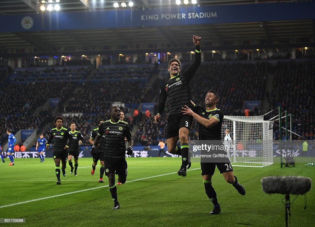 Marcos Alonso of Chelsea celebrates his second goal alongside Gary Cahill during the Premier League match between Leicester City and Chelsea at The King Power Stadium on January 14, 2017 in Leicester, England.