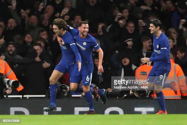 Marcos Alonso of Chelsea celebrates scoring a goal to make the score 12 during the Premier League match between Arsenal and Chelsea at Emirates...