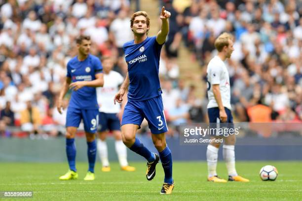 Marcos Alonso of Chelsea celebrates scoring his sides first goal during the Premier League match between Tottenham Hotspur and Chelsea at Wembley...