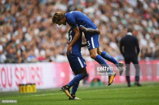 Marcos Alonso of Chelsea celebrates scoring his sides first goal with Victor Moses of Chelsea during the Premier League match between Tottenham...
