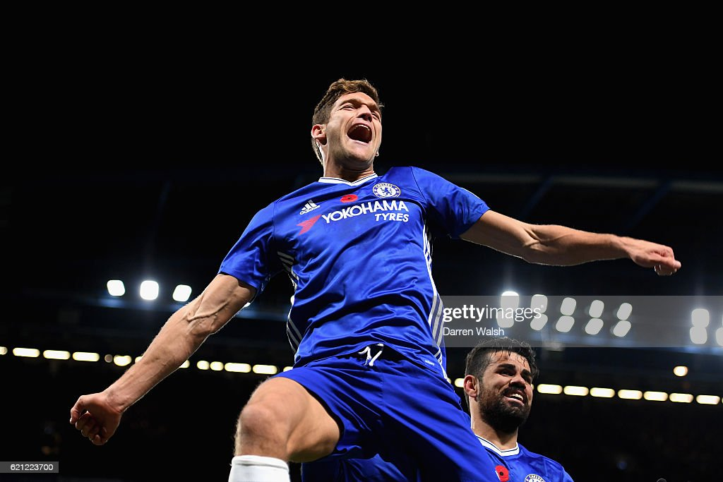Marcos Alonso of Chelsea celebrates scoring his sides second goal during the Premier League match between Chelsea and Everton at Stamford Bridge on November 5, 2016 in London, England.