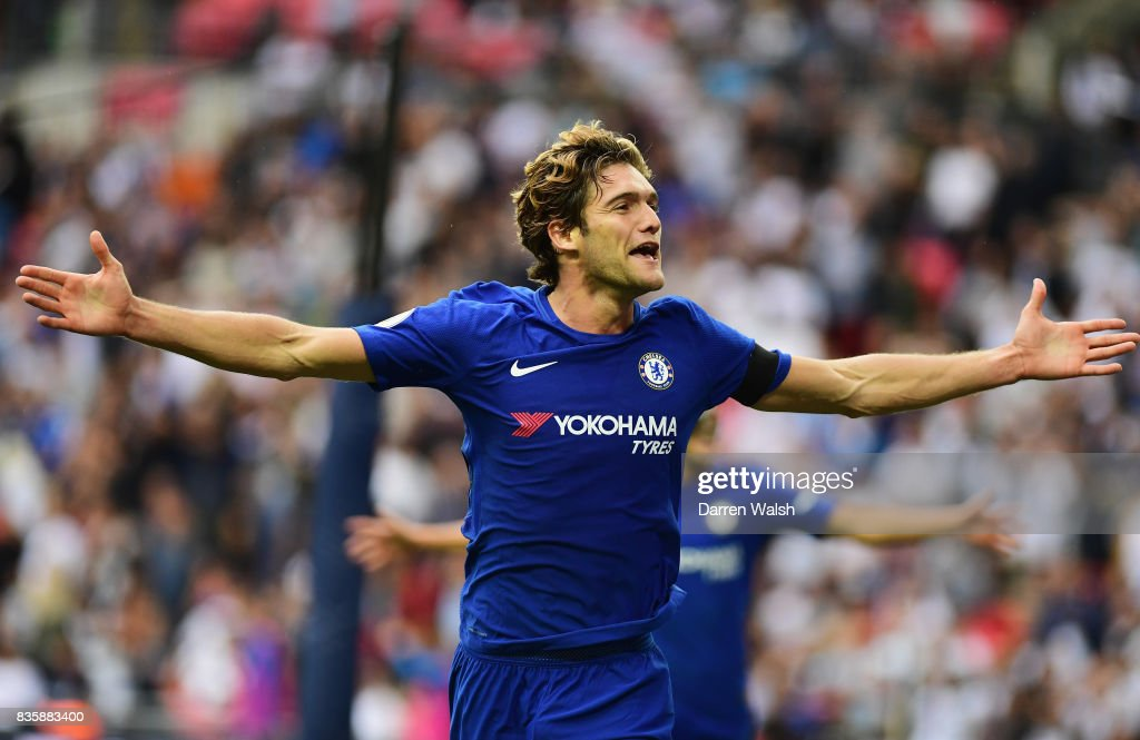 Marcos Alonso of Chelsea celebrates scoring his sides second goal during the Premier League match between Tottenham Hotspur and Chelsea at Wembley Stadium on August 20, 2017 in London, England.