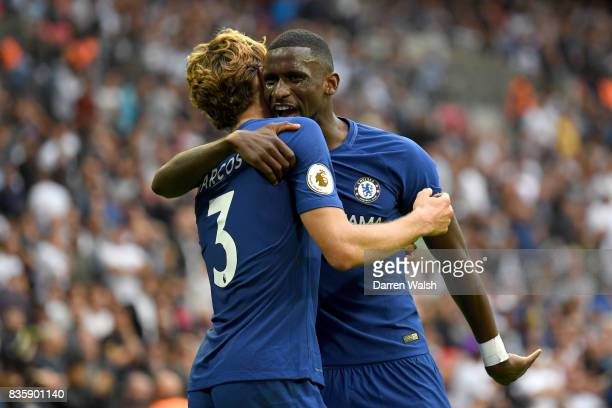 Marcos Alonso of Chelsea celebrates scoring his sides second goal with Antonio Rudiger of Chelsea during the Premier League match between Tottenham...