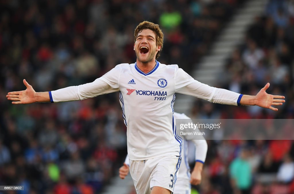 Marcos Alonso of Chelsea celebrates scoring his sides third goal during the Premier League match between AFC Bournemouth and Chelsea at Vitality Stadium on April 8, 2017 in Bournemouth, England.