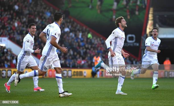 Marcos Alonso of Chelsea celebrates scoring his sides third goal during the Premier League match between AFC Bournemouth and Chelsea at Vitality...
