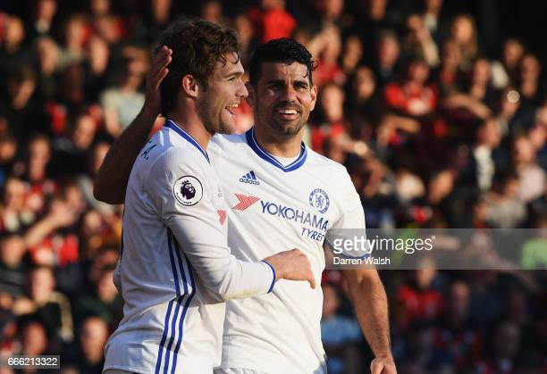 Marcos Alonso of Chelsea celebrates scoring his sides third goal with Diego Costa of Chelsea during the Premier League match between AFC Bournemouth...