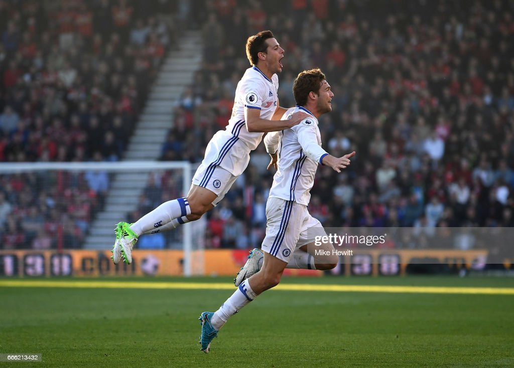 Marcos Alonso of Chelsea celebrates scoring his sides third goal with Cesar Azpilicueta of Chelsea during the Premier League match between AFC Bournemouth and Chelsea at Vitality Stadium on April 8, 2017 in Bournemouth, England.