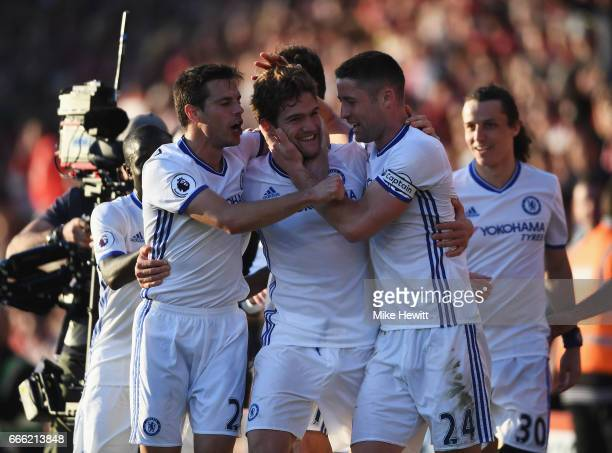 Marcos Alonso of Chelsea celebrates scoring his sides third goal with his Chelsea team mates during the Premier League match between AFC Bournemouth...