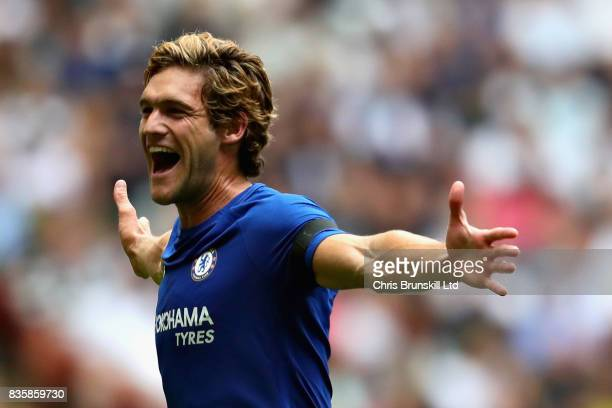 Marcos Alonso of Chelsea celebrates scoring the opening goal during the Premier League match between Tottenham Hotspur and Chelsea at Wembley Stadium...