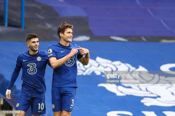 Marcos Alonso of Chelsea celebrates scoring their 2nd goal with Christian Pulisic during the Premier League match between Chelsea and Burnley at...