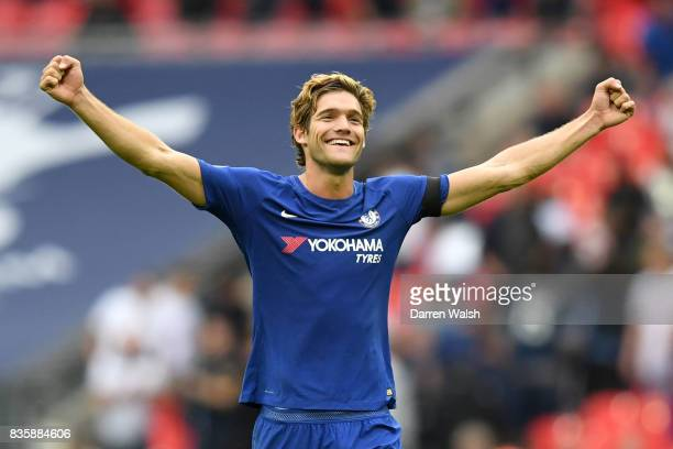 Marcos Alonso of Chelsea celebrates victory after the Premier League match between Tottenham Hotspur and Chelsea at Wembley Stadium on August 20 2017...