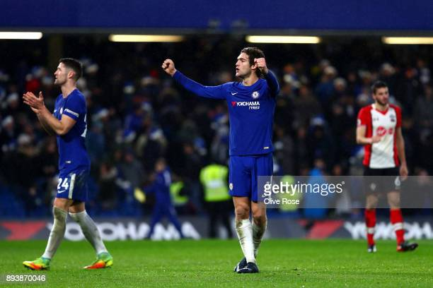 Marcos Alonso of Chelsea celebrates victory after the Premier League match between Chelsea and Southampton at Stamford Bridge on December 16 2017 in...