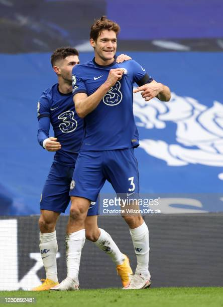 Marcos Alonso of Chelsea celebrates with Christian Pulisic after scoring the second goal during the Premier League match between Chelsea and Burnley...