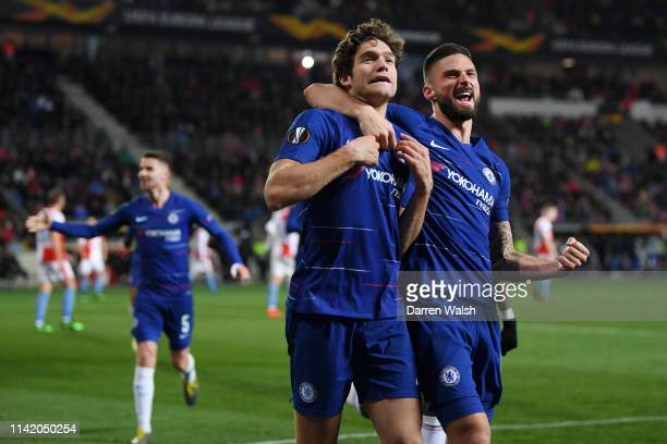 Marcos Alonso of Chelsea celebrates with teammate Olivier Giroud of Chelsea after scoring their team's first goal during the UEFA Europa League...