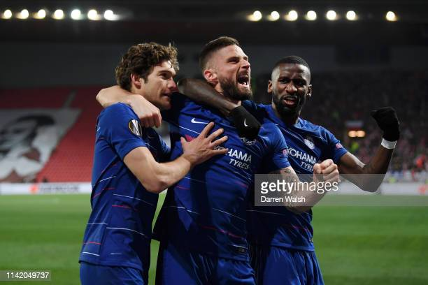 Marcos Alonso of Chelsea celebrates with teammates after scoring their team's first goal during the UEFA Europa League Quarter Final First Leg match...