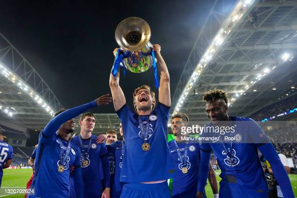 Marcos Alonso of Chelsea celebrates with the Champions League Trophy following their team's victory in the UEFA Champions League Final between...