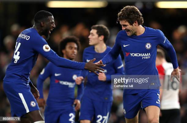 Marcos Alonso of Chelsea celebrates with Tiemoue Bakayoko of Chelsea after scoring his sides first goal during the Premier League match between...