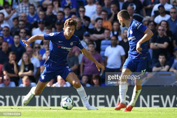 Marcos Alonso of Chelsea controls the ball during the Premier League match between Chelsea FC and AFC Bournemouth at Stamford Bridge on September 1...