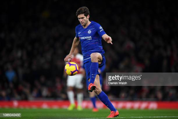 Marcos Alonso of Chelsea controls the ball during the Premier League match between Arsenal FC and Chelsea FC at Emirates Stadium on January 19 2019...