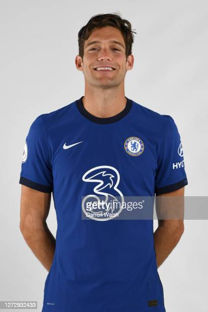 Marcos Alonso of Chelsea during a Chelsea Media Day at Chelsea Training Ground on September 11, 2020 in Cobham, England.