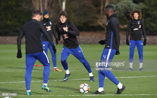 Marcos Alonso of Chelsea during a training session at Chelsea Training Ground on January 16 2018 in Cobham England