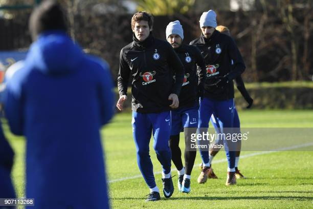 Marcos Alonso of Chelsea during a training session at Chelsea Training Ground on January 19 2018 in Cobham England