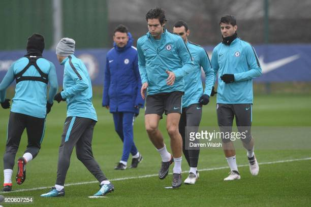 Marcos Alonso of Chelsea during a training session at Chelsea Training Ground on February 19 2018 in Cobham England