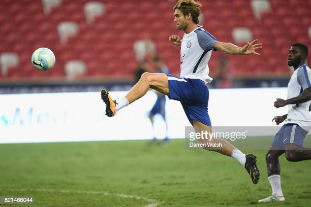 Marcos Alonso of Chelsea during a training session at Singapore National Stadium on July 24 2017 in Singapore