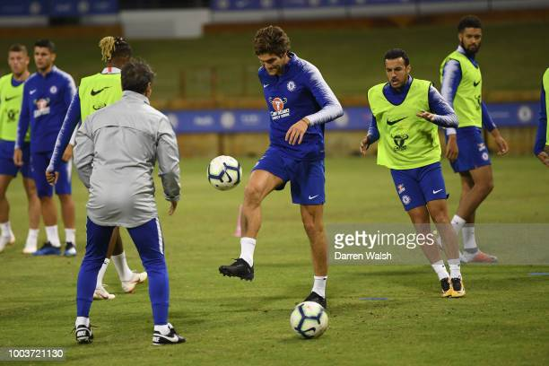 Marcos Alonso of Chelsea during a training session at the WACA on July 22 2018 in Perth Australia