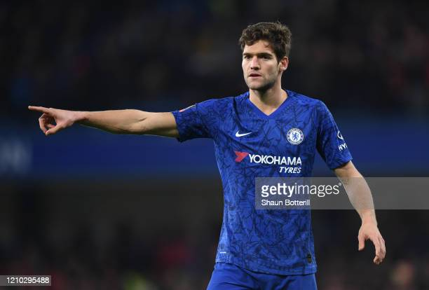 Marcos Alonso of Chelsea during the FA Cup Fifth Round match between Chelsea FC and Liverpool FC at Stamford Bridge on March 03 2020 in London England