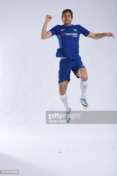 Marcos Alonso of Chelsea during the New Nike Kit Photoshoot at Chelsea Training Ground on April 19, 2017 in Cobham, England.