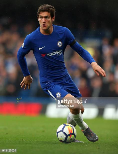 Marcos Alonso of Chelsea during the Premier League match between Chelsea and West Ham United at Stamford Bridge on April 8 2018 in London England