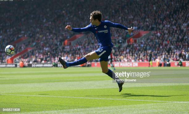 Marcos Alonso of Chelsea during the Premier League match between Southampton and Chelsea at St Mary's Stadium on April 14 2018 in Southampton England...