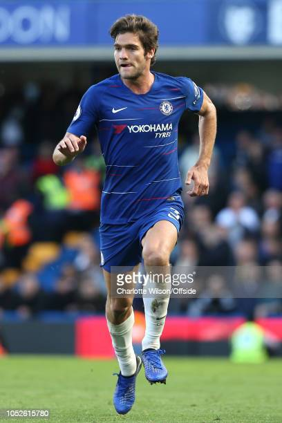 Marcos Alonso of Chelsea during the Premier League match between Chelsea FC and Manchester United at Stamford Bridge on October 20 2018 in London...