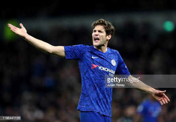 Marcos Alonso of Chelsea during the Premier League match between Tottenham Hotspur and Chelsea FC at Tottenham Hotspur Stadium on December 22 2019 in...