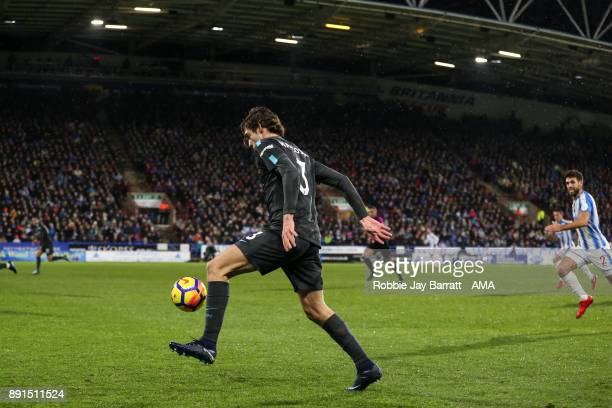 Marcos Alonso of Chelsea during the Premier League match between Huddersfield Town and Chelsea at John Smith's Stadium on December 12 2017 in...
