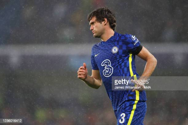 Marcos Alonso of Chelsea during the UEFA Champions League group H match between Chelsea FC and Malmo FF at Stamford Bridge on October 20, 2021 in...