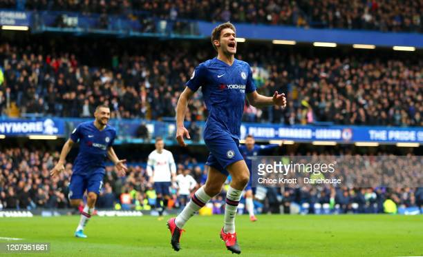 Marcos Alonso of Chelsea FC celebrates scoring his teams second goal during the Premier League match between Chelsea FC and Tottenham Hotspur at...