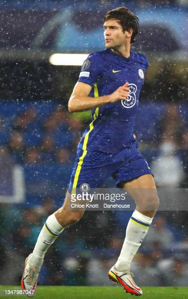 Marcos Alonso of Chelsea FC during the UEFA Champions League group H match between Chelsea FC and Malmo FF at Stamford Bridge on October 20, 2021 in...