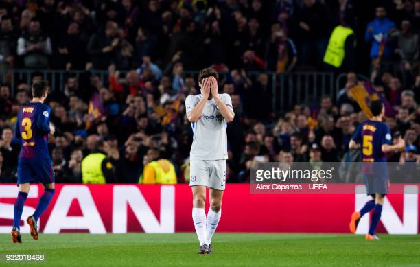 Marcos Alonso of Chelsea FC reacts after Ousmane Dembele of FC Barcelona scored his team's second goal during the UEFA Champions League Round of 16...