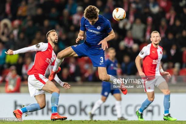 Marcos Alonso of Chelsea FC scores his team's first goal with a header during the UEFA Europa League Quarter Final First Leg match between Slavia...
