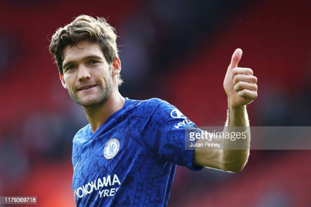Marcos Alonso of Chelsea gives a thumbs up to the fans following his sides victory in the Premier League match between Southampton FC and Chelsea FC...