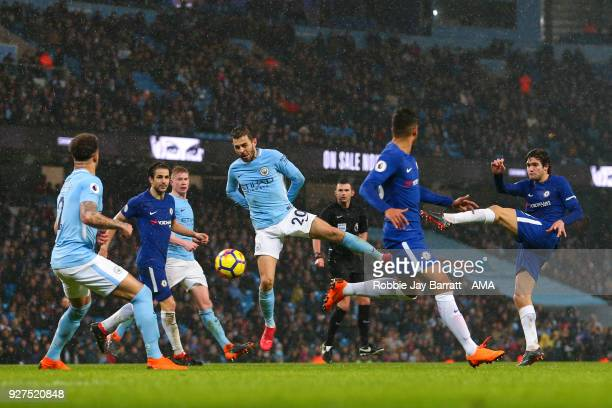 Marcos Alonso of Chelsea has a shot at goal during the Premier League match between Manchester City and Chelsea at Etihad Stadium on March 4 2018 in...