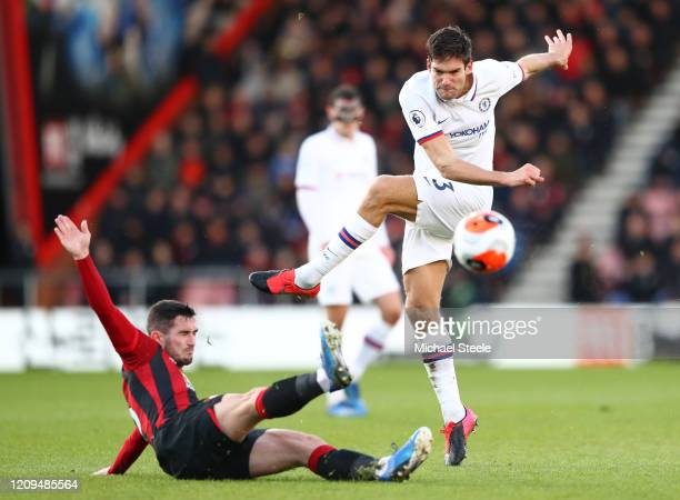 Marcos Alonso of Chelsea has his shot blocked by Lewis Cook of AFC Bournemouth during the Premier League match between AFC Bournemouth and Chelsea FC...