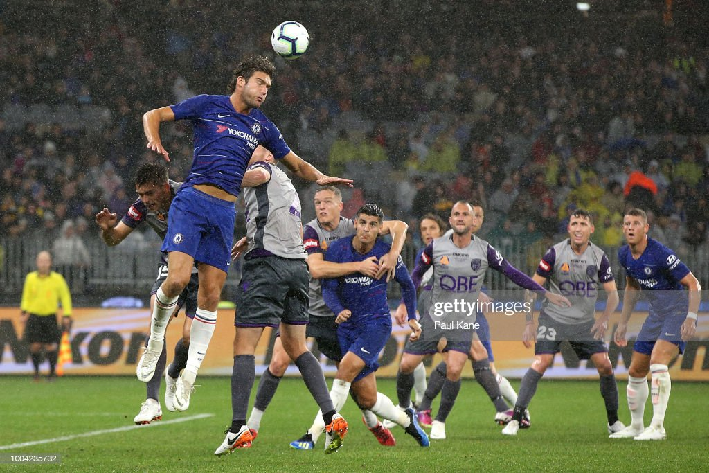 Marcos Alonso of Chelsea heads the ball during the international friendly between Chelsea FC and Perth Glory at Optus Stadium on July 23, 2018 in Perth, Australia.